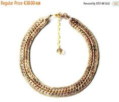SALE Ombre gold and bronze crocheted chain chocker Crochet choker golden chain Fiber choker Crochet Jewelry Statement jewelry