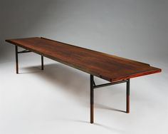 """Bench """"BO101″ designed by Finn Juhl for Bovirke, Denmark. 1953."""