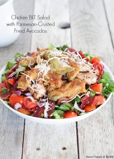 Chicken BLT Salad with Parmesan Crusted Fried Avocados
