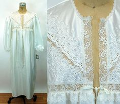 07d86eddf9 1980s Christian Dior nightgown white satin flannel eyelet lace New with Tag  NOS Size M