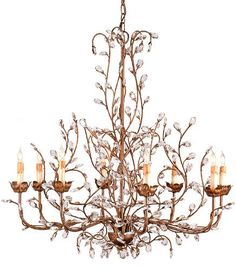 Currey and Company Crystal Bud Chandelier Large