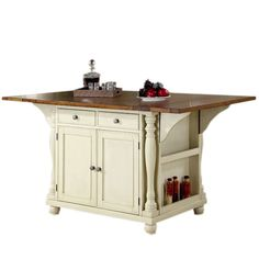 The glorious Maryanne #Kitchen #Island – #Cherry-topped kitchen island with drop-down surface and four drawers.