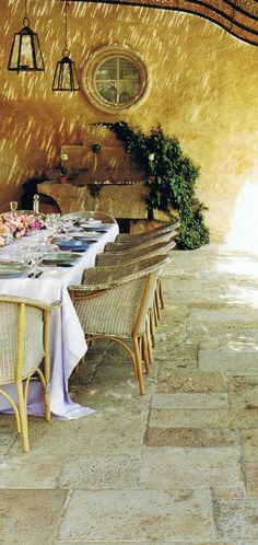 PLEASURES OF FRENCH COUNTRYSIDE: dining on the patio