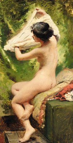 Konstantin Egorovich Makovsky (Russian 1839-1915) ~ Beauty Preparing to Bathe