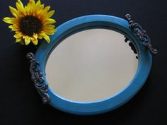 Oval mirrored tray in gorgeous antique glazed teal. Repurposed was a vintage table standing pedestal mirror. This is a great jewelry or trinket mirror tray.