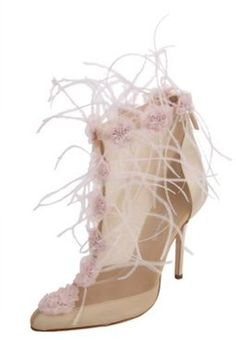 Oscar De La Renta Mesh Bootie with Feather and Floral Embroidery