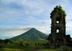 18th century Franciscan church, the Cagsawa church, built in 1724 and destroyed by the 1814 eruption of the Mayon Volcano. They are located in Barangay Busay, Cagsawa, in the municipality of Daraga, Albay, Philippines.
