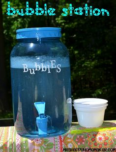 DIY Bubble Station.  You can whip this one up in 5 minutes flat, and the kids are gonna love it!!