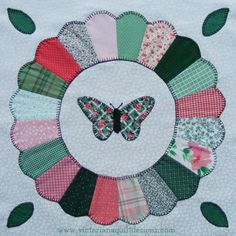 Dresden Plate with Butterfly Quilt Block