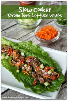 {Easy} Slow Cooker Korean Beef Lettuce Wraps #slowcookersummersuppers #easydinner