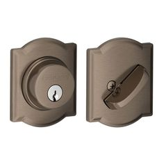 Schlage B60N-CAM Single Cylinder Grade 1 Deadbolt with Decorative Camelot Rose Antique Pewter Deadbolt Keyed Entry Single Cylinder