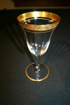"""Vintage Tiffin Franciscan Minton Wine Glass 7"""" Tall~ Optic~Gold Encrusted"""