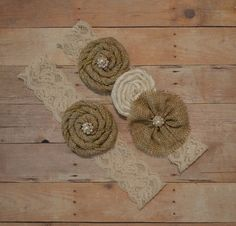 Burlap Wedding Garter Set Ivory Stretch by HavingFunWithCrafts, $24.99