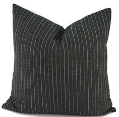Classic Charcoal Gray Pinstripe Pillow Cover by ThePillowSpot