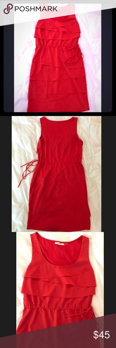 Calvin Klein Red Drawstring Dress Size 6 This red Calvin Klein dress has a drawstring at the waist. Excellent condition, falls right above the knee. Calvin Klein Dresses