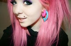 Cute vibrant pink emo hairstyle