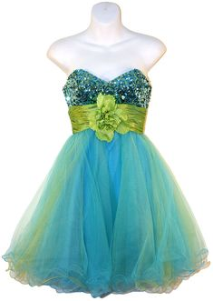 sparkly dress. I'd looove this if there was a bow instead a flower and different colors