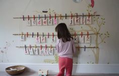 colored clothespin display -- use for alphabet cards, numbers, animals, colors, spelling, art