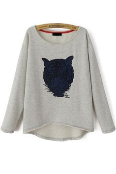 Whimsical Tiger Grey Sweatshirt