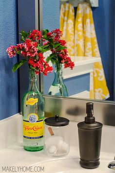 Kids' Bathroom Mirror Makeover via MakelyHome.com