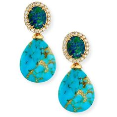 Rina Limor Signature Turquoise & Opal Drop Earrings with Diamonds (€2.510) ❤ liked on Polyvore featuring jewelry, earrings, fine jewelry, 18k earrings, diamond jewelry, 18 karat gold earrings and diamond fine jewelry