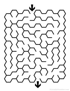 Print Free Hexagon Maze with Easy Difficulty. Easy Hexagon Maze with Solution. Printable Puzzles, Printables, Contemporary, Worksheets, Easy, Decor, Decorating, Inredning, Interior Decorating