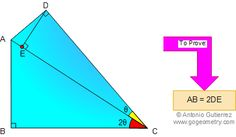Problem 17: Right triangles, Altitude, Double Angle. Level: High School, College