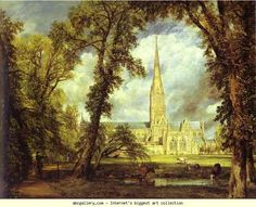 John Constable. Salisbury Cathedral, from the Bishop's Grounds. 1823.  Olga's Gallery.