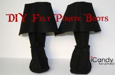 DIY Felt Pirate Boots | 25 DIY Pirate Costume Ideas, check it out at http://diyready.com/25-argh-tastic-diy-pirate-costume-ideas