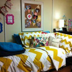 Mustard yellow zig zags. #HomeSweetDorm #collegedorm #dormdesign
