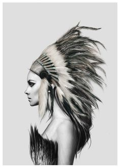 Beautiful Native American Indian Girl In Feathered Tribal Headdress Fine Art Canvas Prints Nordic Style Poster Art For Modern Home Interior Wall Decor – Indian Living Rooms Native American Headdress, Native American Indians, American Indian Girl, American Art, Canvas Wall Art, Canvas Prints, 1 Tattoo, Nature Prints, Wall Art Pictures