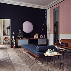 Jean-Christophe Aumas Living Room, Remodelista - PINK wall for new apt!