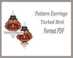Peyote Earrings Pattern Turked Bird for bead weaving, Beaded Pattern Turked Bird, beading Tutorial earrings Turked Bird of weaving earrings Peyote Beading, Bird Earrings, Beadwork, Peyote Patterns, Weaving Patterns, Brick Stitch Earrings, Earring Tutorial, White Beads, Brick Stitch