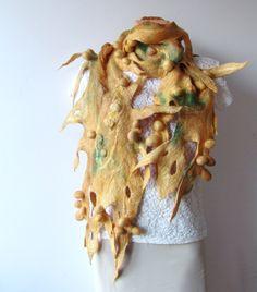 Nuno felted scarf Yellow Green Savanna shibori. $117.00, via Etsy.