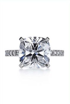 A Perfect 2CT Solitaire Cushion Cut Russian Lab Diamond Ring with Pave Diamond Accents