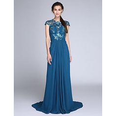 TS+Couture®+Formal+Evening+/+Military+Ball+Dress+Plus+Size+/+Petite+Sheath+/+Column+Jewel+Sweep+/+Brush+Train+Chiffon+/+Sequined+with+Side+Draping+–+GBP+£+88.55