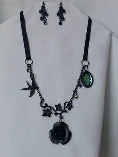 Black Ribbon and Chain Charms Necklace with Black Chain Earrings Set by CreationsbyJF on Etsy