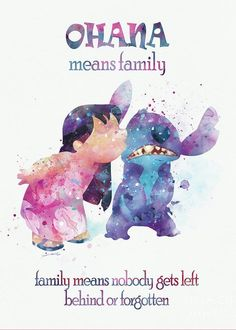 Stitch Ohana Means Family Quote Watercolor Art Print Lilo Disney Print Lilo and Stitch Party Nursery Gift For Mom Digital Dow Film Disney, Disney Art, Watercolor Disney, Watercolor Art, Disney Family, Disney Love, Mean Family Quotes, Lilo E Stitch, Disney Stitch