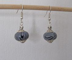 Grey Lantern Earrings. Silver Earrings. Valentine by BoutiqueEV