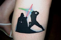 Darth vs Luke tat by Donny Manco, New Republic Tattoo. Ft. Wayne, IN