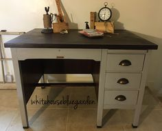Teachers school house desk. So rustic modern with the copper bin pulls.