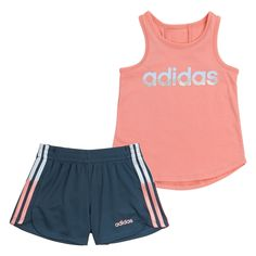 Little Girl Outfits, Cute Outfits For Kids, Striped Tank Top, Striped Shorts, Navy Shorts, Nike Outfits, Sport Outfits, Light Pink Adidas, Girls Sports Clothes