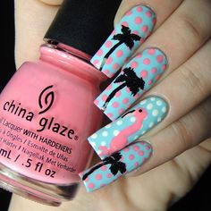 Flamingo, Palm tree and dots mani credit to youvegot_nail on Instagram
