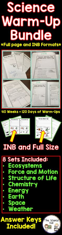 Science Warm-Up Bundle. 40 complete weeks (200 days) of Science Warm-Ups with answer keys included.