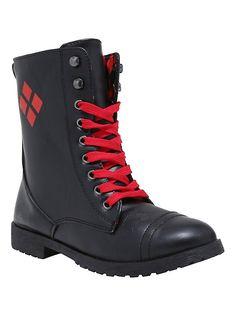DC Comics Harley Quinn Combat Boots, BLACK