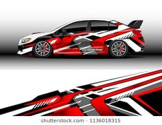 Immagini, foto stock e grafica vettoriale simili a tema Car decal graphic vector, truck and cargo van wrap vinyl sticker. Graphic abstract stripe designs for branding and drift livery car - 1136018282 Car Stickers, Car Decals, Van Wrap, Custom Wraps, Cargo Van, Mitsubishi Lancer Evolution, Car Brands, Car Painting, Stripes Design