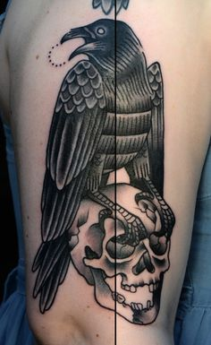 #crow and #skull #tattoo by Philip Yarnell