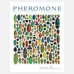 Pheromone Insect Art Book. Pheromone: The Insect Artwork of Chrisopher Marley presents assemblages of real insect bodies that display brilliant color and otherworldly form. The colors are entirely natural, and to render the reproductions as accurate as possible some have been reproduced with fifth-color metallic inks and highlighted with spot varnish. Hardcover, 256 pgs.