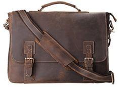 Kattee Mens Briefcase, Full Grain Leather Messenger Shoulder Bag Laptop Tote Kattee Men's Leather Business Bag: Vintage Design, Multiple Uses! Mens Leather Satchel, Mens Tote Bag, Messenger Bag Men, Leather Men, Leather Office Bags, Leather Laptop Bag, Leather Briefcase, Leather Bags, Laptop Tote Bag