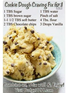 Cookie Dough Craving Fix- eggless mix, so grab a spoon & Eat up! Got a craving for cookie dough? When your sweet tooth kicks in & you don't feel like baking, here are 3 delicious safe tried-n-True raw edible cookie dough Mug Recipes, Baking Recipes, Sweet Recipes, Recipies, Coffee Drink Recipes, Cheap Recipes, Candy Recipes, Think Food, Love Food